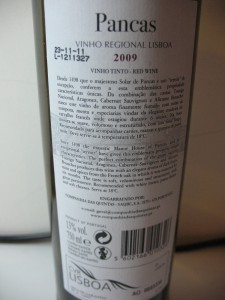 Контрэтикетка португальского вина Pancas