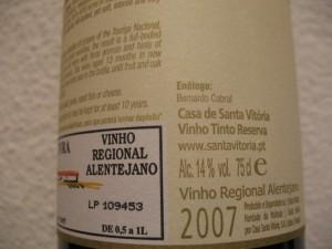 Контрэтикетка португальского вина Santa Vitória