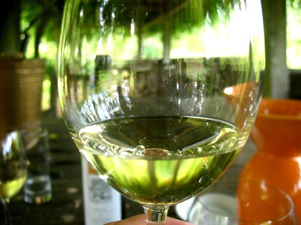 Лорейру. С отражением всей этой зелени вокруг, вино действительно кажется зеленым :)
