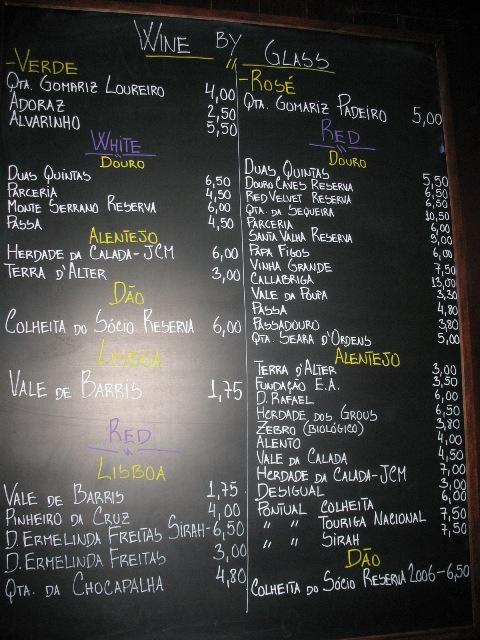 Карта вин в винном баре в Лиссабоне