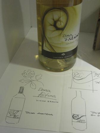 Эскизы первой этикетки вина Dona Fátima